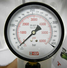 "Pressure Gauge - DUAL SCALE 0 - 400 BAR & 0 - 6000 PSI - 3/8"" BSP - High Quality"