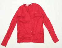 Crew Clothing Womens Size 14 Textured Cotton Blend Pink Cardigan (Regular)