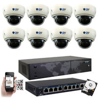 8CH NVR (8) 4K 8MP Motorized Zoom Microphone IP POE Dome Security Camera System