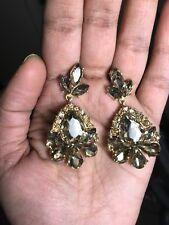 "2"" Light Brown Gold Long Rhinestone Crystal Pageant Dangle Earrings Formal"