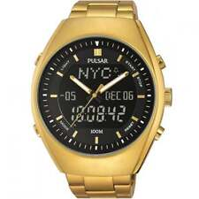 Pulsar Mens Alarm Gold Tone Stainless Steel Black PZ4012X1 Watch - 19 off
