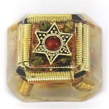 Orgonite Protection Healing Tool Star of David, Black Tourmaline, Pyrite, Coral