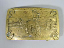 1950s Western Style Brass Buckle w/ Rodeo Rider / FREE Shipping