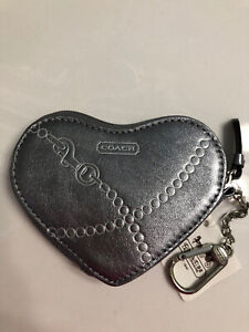 COACH SILVER JEWEL HEART COIN CASE 44477 ATTACHED KEY RING NEW WITH TAGS