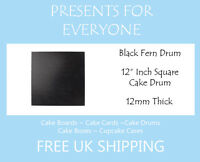 "1 x 12"" Inch Square Black Wedding Birthday Cake Drum / Board 12mm"