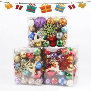 30-70PCS/Box Christmas Glitter Ball Ornaments Xmas Tree Ball Hanging Party Decor