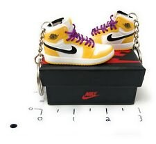 Hand Painted Retro OG Pair of 3D Mini Shoe Keychains with Box Lakers Purple Lace