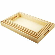 5 Wooden Trays + Handles Breakfast Dinner Lunch Food Bed Serving Set Kitchen NEW