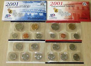 US Uncirculated 2001 PD US Mint set #U31-3 with State Quarters,Sacagawea Dollars