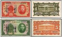 SUPERB LG 1931 KWANGTUNG CHINA $1 - $5 BILLS Gem Crisp AU+! 75% OFF $150 RETAIL!