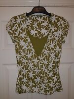 ladies LAURA ASHLEY green white stretch top size 8 floral