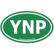 "Yellowstone National Park Green Oval car bumper sticker 5"" x 3"""