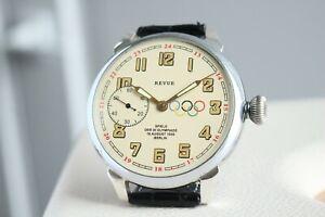REVUE Olympic Games Vintage 1930`s Men`s Swiss UNIQUE Luxury rare Wristwatch