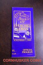 1988 BREEDERS CUP PROGRAM ~ CHURCHILL DOWNS ~ BC CLASSIC WINNER ALYSHEBA ~ MINT