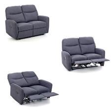 Divano 2 posti recliner reclinabile mod.relax Kub in tessuto di colore blu jeans