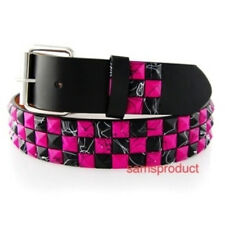 Pyramid Studded Snap On Leather Belt M 32-36 Pink Line