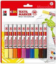 Marabu KiDS Textilmarker Stoffmalfarbe Set waschfest intensive Farben Tshirts