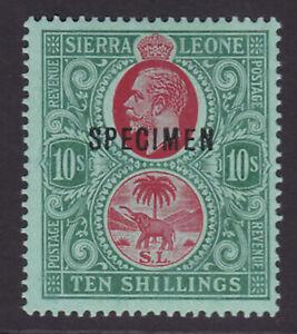 Sierra Leone. SG 127as, 10/- carmine & blue green/green, specimen. Fine mint.