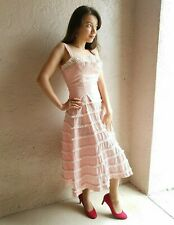 Lou-Ette California 50s Vtg SM Dress Sexy Pin-up Double Bodice Pink Gingham Lace
