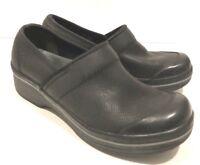 DANSKO Black Leather Women Clog Volley Shoe 37 6.5 7 Rubber Toe Slip Resistant