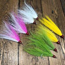 Mustad 8 Bucktail Teaser Flies Fluke Flounder Striper Bass Fishing Bait Rig 3/0