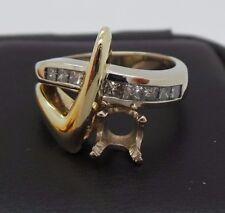 STUNNING 14K 2TONE DIAMOND SEMI-MOUNT RING .50 tcw SZ 6.25  A9977  8.70 grams