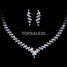 Women Bridal Wedding Diamante Jewelry Crystal Necklace Earrings Set
