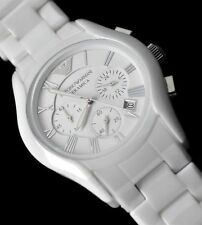 GENUINE NEW ARMANI AR1403 WHITE CERAMIC WATCH UK, BOX   Certificate
