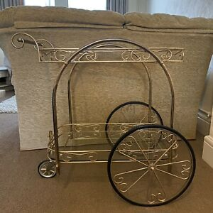 Original Vintage Brass Drinks Cocktail Trolley with Fancy Wheels & Glass Shelves