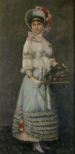 Jeune femme à l'éventail, 1883, Huile sur Bois, Signé à identifier