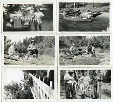 Fishing Trip KENORA Ontario Canada Lot of Six Vintage 1947 Photos Boats Camp