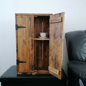 """Waxed pine cabinet brown 29 1/2"""" kitchen rustic country cottage farmhouse shelf"""