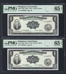 Philippines 2 Consecutive One Peso ND(1949) P133g Uncirculated Grade 65
