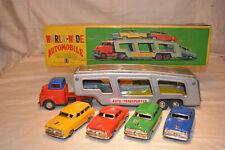 SSS Toys Autotransporter 47cm, Blechspielzeug, Japan OVP, mit 4Stk. Blechautos
