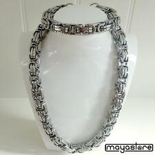80cm BIZANTINO COLLAR + Pulsera cadena de plata acero inoxidable CONJUNTO XXL