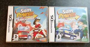 2 NINTENDO DS GAMES SAM POWER POLICEMAN & SAM POWER FIREFIGHTER TESTED MANUALS