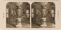Italia Roma Museo Vaticano Vaso c1905 Foto Stereo Vintage Analogica