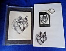 Timber Wof 3 Piece Set-Notepad, Small Print and Keychain New