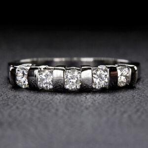 ROUND BRILLIANT DIAMOND 1/2ct F-G SI PLATINUM WEDDING BAND STACKING RING 5 STONE