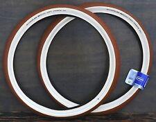 "26""x2.35 Red Brown FF Cream Whitewall Cruiser Bicycle Tires Vintage Schwinn Bike"
