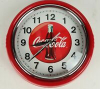 Retro Diner Styled Coca Cola Round Red Metal Wall Clock Coke - Tested/Working
