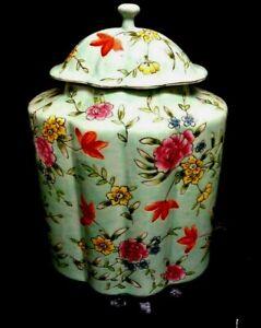 LOVELY LG.FLORAL VINTAGE Decorative HAND PAINTED FLORAL GINGER JAR 10 X 7 INCH