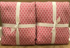 "NEW 2PC Pottery Barn Kids Dot Jacquard 44"" X 84"" Panel BRIGHT PINK"