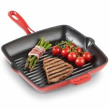 VonShef 26cm Non-Stick Cast Iron Square Induction Grill Frying Griddle Pan