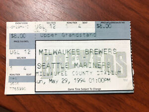 ROBIN YOUNT #19 RETIRED by MILWAUKEE BREWERS/1994 TICKET STUB vs SEATTLE MARINER