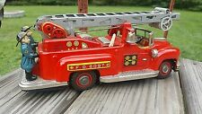 Vintage Original Battery Operated Tin Toy Fire Ladder Truck Made in Japan WORKS