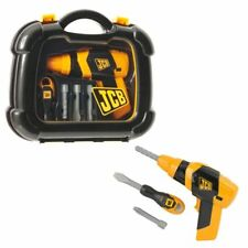 Kids JCB Pretend Drill & Screwdriver in Carry Case Tool Kit Boys Battery Toy