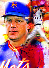 2020 Tom Seaver New York Mets 21/25 Art ACEO Blue Sketch Print Card By:Q