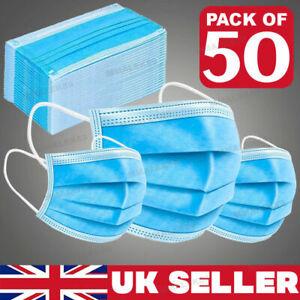 UK 50X Blue Face Mask Protective Covering Mouth Masks Washable Reusable UK