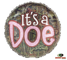 """It's A Doe Camouflage Round 17"""" Foil Balloon Girl Pink Baby Shower Party 3 Pack"""